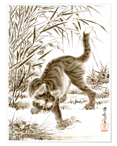 Poster Cat Catching a Frog