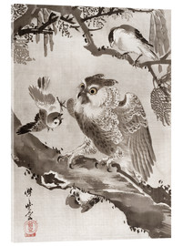 Verre acrylique  Owl Mocked by Small Birds - Kawanabe Kyosai
