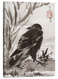 Toile  Crow and Reeds by a Stream - Kawanabe Kyosai