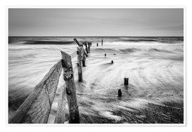 Poster Stormy Baltic Sea (monochrome)