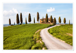 Poster Farmhouse with cypresses in Tuscany