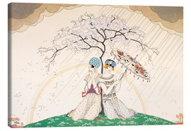 Toile  Two women sheltering from the rain, under a tree - Georges Barbier