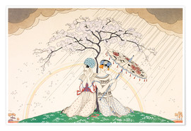 Poster  Two women sheltering from the rain, under a tree - Georges Barbier