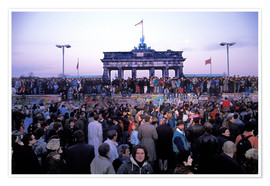 Poster  Berliners from East and West celebrating the opening of the border at the Berlin Wall