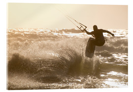 Verre acrylique  Kitesurfer jumping on a beautiful background