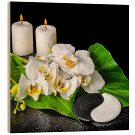 Tableau en bois  Spa concept with candles and orchids