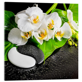 Verre acrylique  Spa arrangement with white orchid