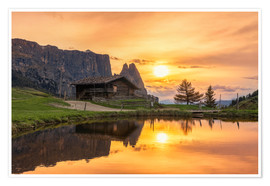 Poster  Alpe di Siusi with Schlern at sunset - Dieter Meyrl