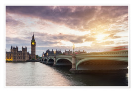 Poster  LONDON Westminster Bridge and Big Ben at Sunset - rclassen