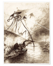 Poster  Martian Fighting Machine in the Thames Valley - Henrique Alvim Correa
