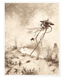 Poster  Martian Fighting Machine Hit by Shell - Henrique Alvim Correa