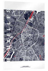 Tableau en verre acrylique  Brussels map city midnight - campus graphics