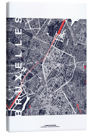Tableau sur toile  Brussels map city midnight - campus graphics