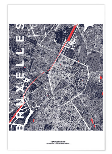 Poster Brussels map city midnight
