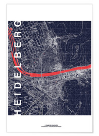 Poster  City of Heidelberg Map midnight - campus graphics