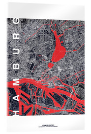 Tableau en verre acrylique  Hamburg city map midnight - campus graphics