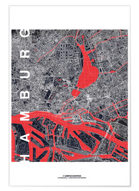 Poster  Hamburg city map midnight - campus graphics