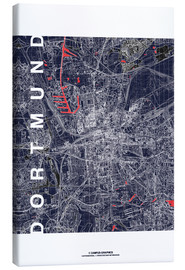 Toile  City of Dortmund Map midnight - campus graphics