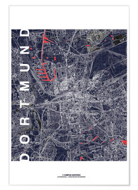 Poster  City of Dortmund Map midnight - campus graphics