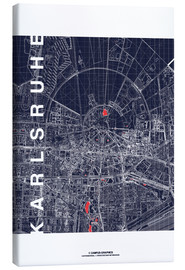 Toile  Karlsruhe city map at midnight - campus graphics
