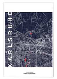 Poster  Karlsruhe city map at midnight - campus graphics