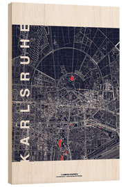Tableau en bois  Karlsruhe city map at midnight - campus graphics