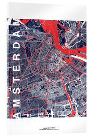 Tableau en verre acrylique  City of Amsterdam Map midnight - campus graphics