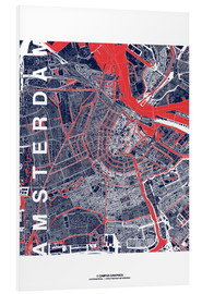 Tableau en PVC  City of Amsterdam Map midnight - campus graphics