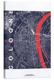 Toile  City of Cologne Map midnight - campus graphics