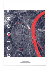Poster  City of Cologne Map midnight - campus graphics