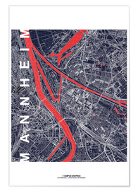 Poster City of Mannheim Map midnight
