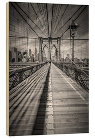Tableau en bois  Pont de Brooklyn à New York - Melanie Viola