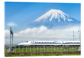 Verre acrylique  Japanese bullet train passes Mount Fuji - Jan Christopher Becke
