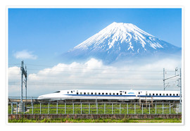 Poster  Un train japonais devant le Mont Fuji - Jan Christopher Becke
