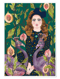 Poster  Portrait with peacocks - Ella Tjader