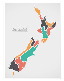Poster  New Zealand map modern abstract with round shapes - Ingo Menhard