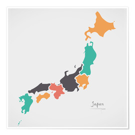 Poster Japan map modern abstract with round shapes