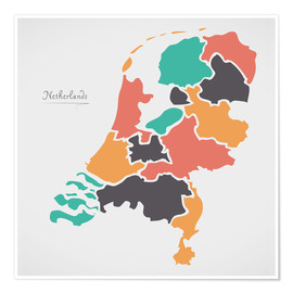 Poster Netherlands map modern abstract with round shapes