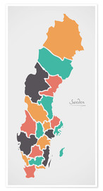 Poster  Sweden map modern abstract with round shapes - Ingo Menhard