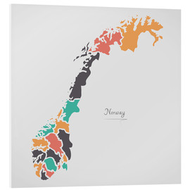 Tableau en PVC  Norway map modern abstract with round shapes - Ingo Menhard