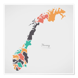 Poster  Norway map modern abstract with round shapes - Ingo Menhard