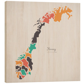 Tableau en bois  Norway map modern abstract with round shapes - Ingo Menhard
