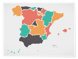 Poster Spain map modern abstract with round shapes