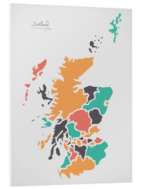 Tableau en PVC  Scotland map modern abstract with round shapes - Ingo Menhard
