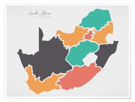 Poster  South Africa map modern abstract with round shapes - Ingo Menhard