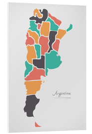 Tableau en PVC  Argentina map modern abstract with round shapes - Ingo Menhard