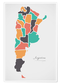 Poster Argentina map modern abstract with round shapes