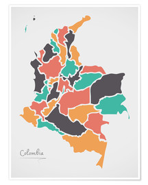Poster Colombia map modern abstract with round shapes