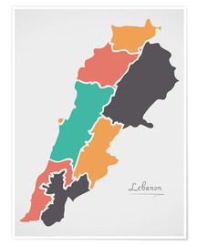 Poster Lebanon map modern abstract with round shapes