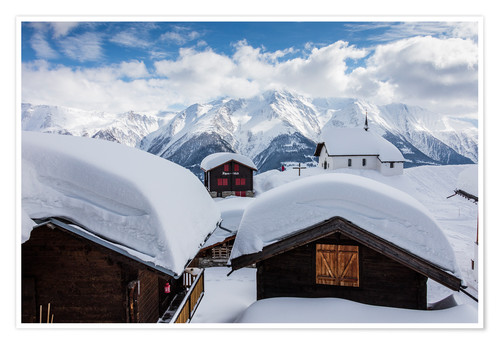 Poster Snowy huts Bettmeralp Switzerland